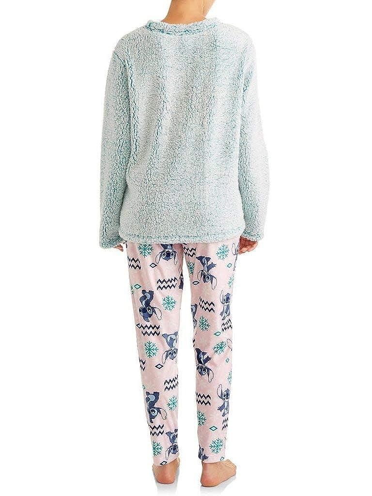 Disney Womens Lilo and Stitch Ohana Plush Fleece 2 Piece Pajama Sleep Set