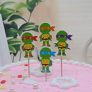 48pc Teenage Mutant Ninja Turtles Cut cupcake tooper Teenage Mutant Ninja Turtles's birthday party candle Teenage Mutant Ninja Turtles birthday cupcake toppers and cake toppers party