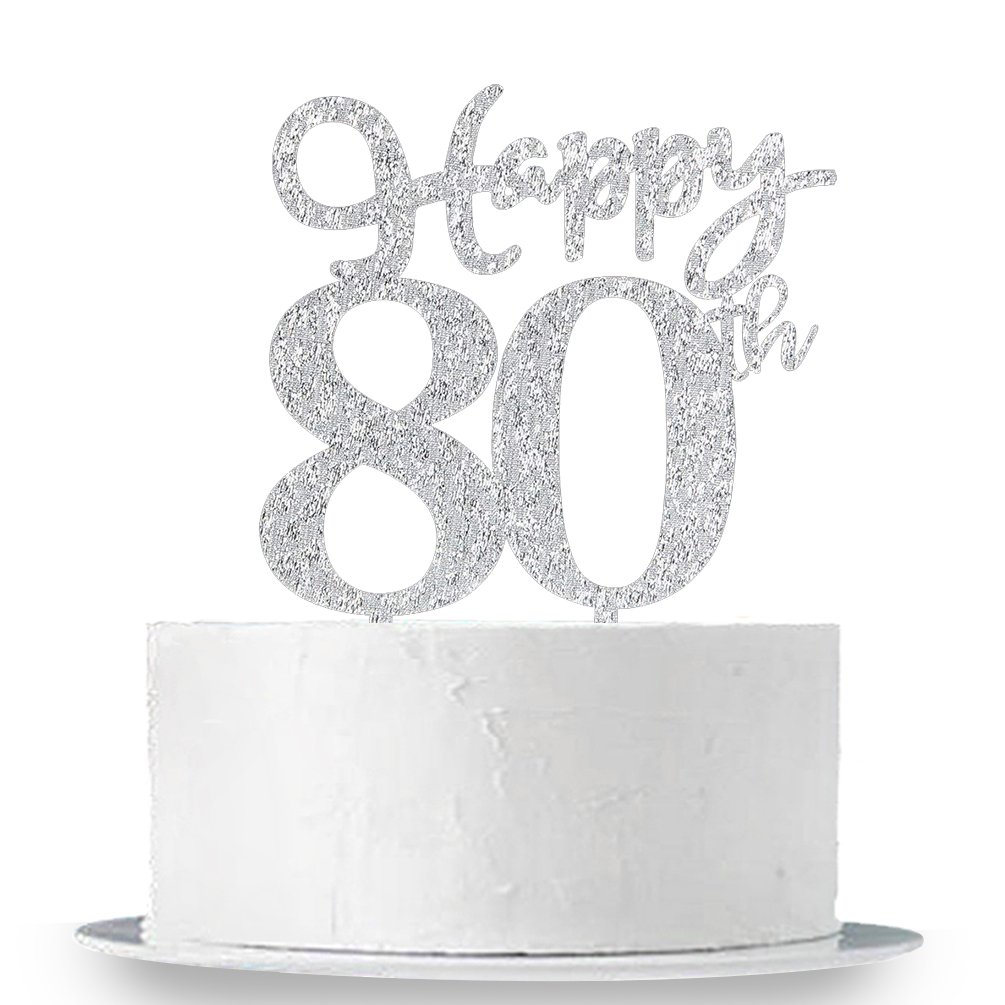 Happy 80th Cake Topper, Glitter Silver 80th Birthday Wedding Anniversary Party Cake Topper Decoration Sign