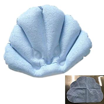 Inflatable Bath Pillow With Suction Cup 2pcs Terry Cloth Covered For Extra Comfort