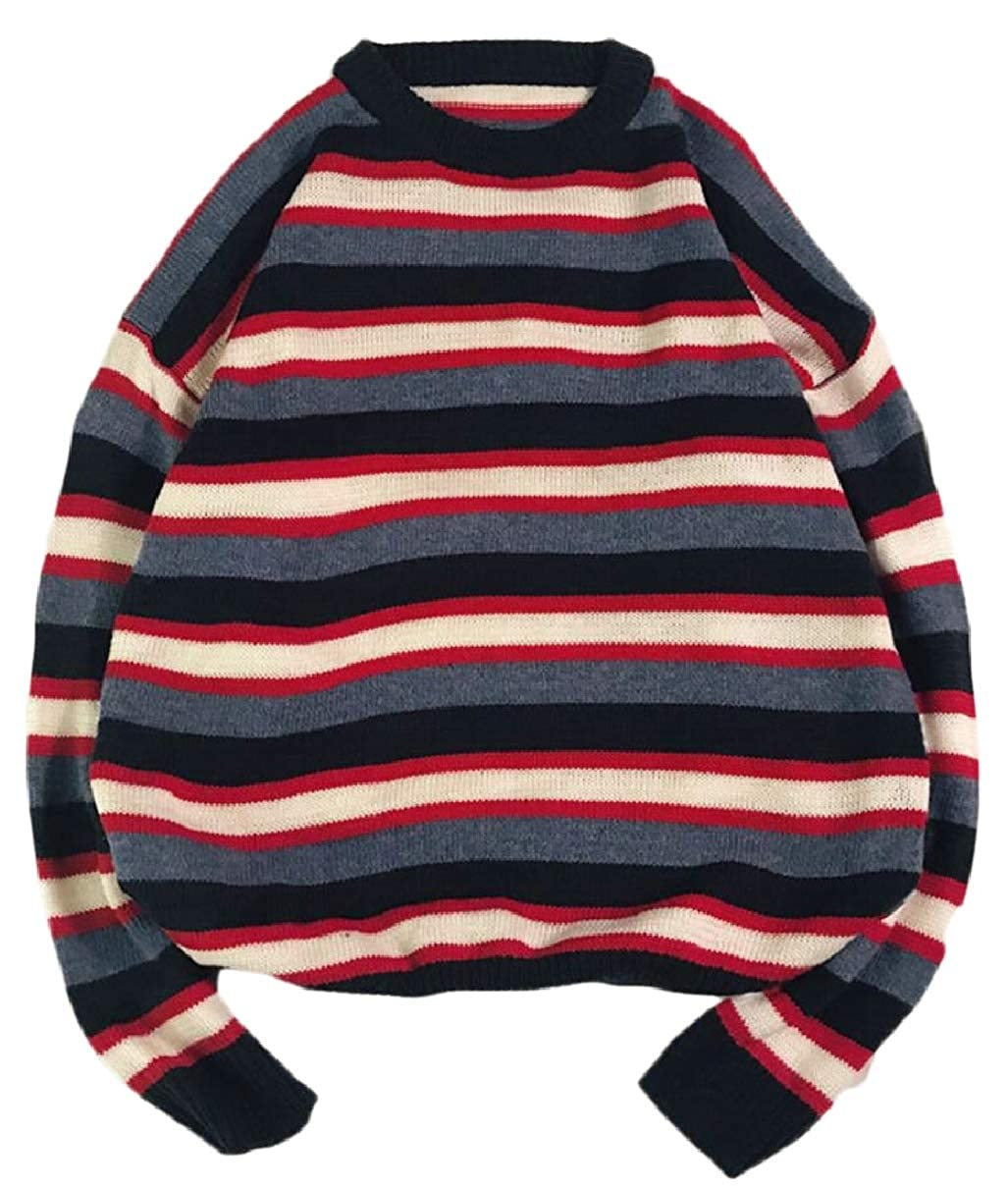 CBTLVSN Mens Slim Fit Stripe Round Neck Fashion Knitted Knitwear Pullover Sweaters