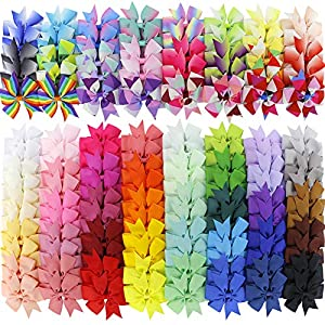 120Piece Boutique Grosgrain Ribbon Pinwheel Hair Bows Alligator Clips For Girls Toddlers Teens Children Kids Gifts In Pairs