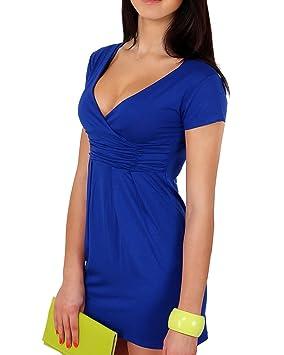 Mujer Vestidos De Fiesta De Noche Cortos V Cuello Bandage Color Solido Coctel Vestidos Lapiz Azul