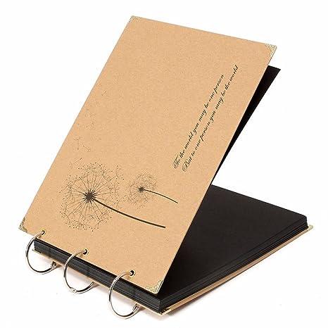 Scrapbooking, álbum de fotos de bricolaje, álbum hecho a mano, 30 hojas / 60 lados de papel negro, diario creativo, cumpleaños de San Valentín Regalos ...