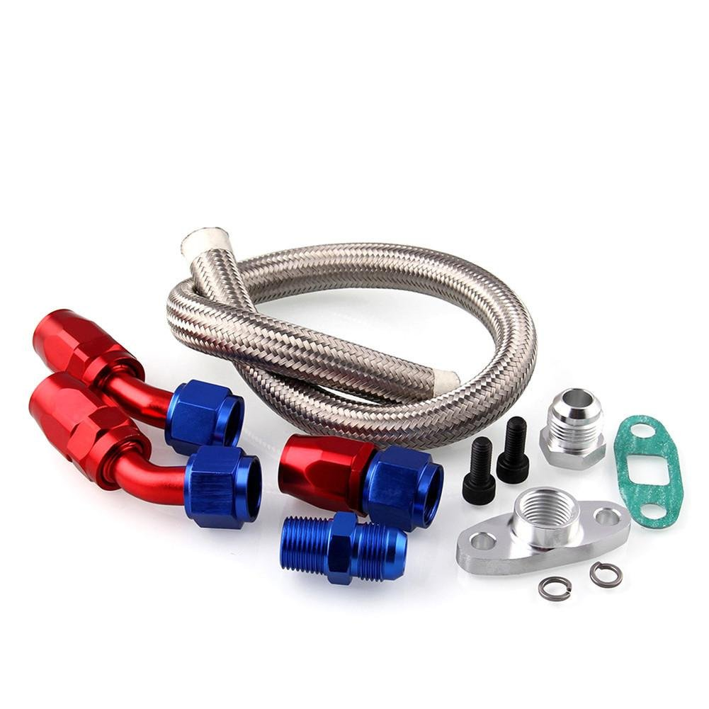 Car Refit T3/T4/T04E Turbo Oil Drain Return Kit Inlet Feed Line Fittings Turbocharger Oil Line Adapter Accessories Fancystar