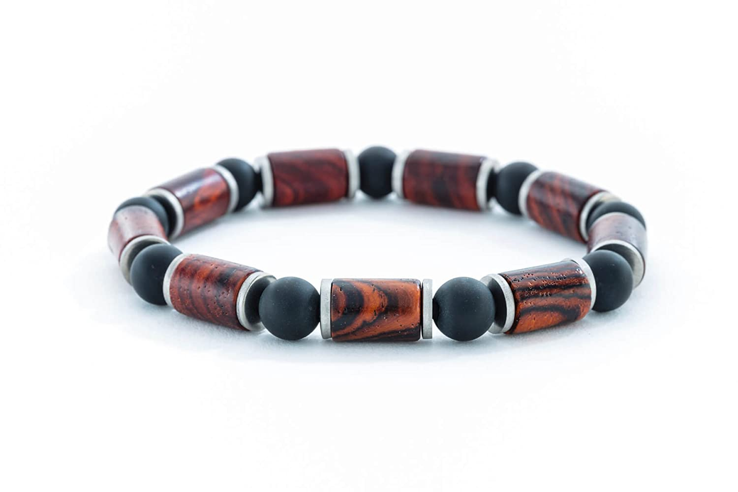 Mens Bracelet Cocobolo or Hawaiian Koa with Onyx and Stainless Steel