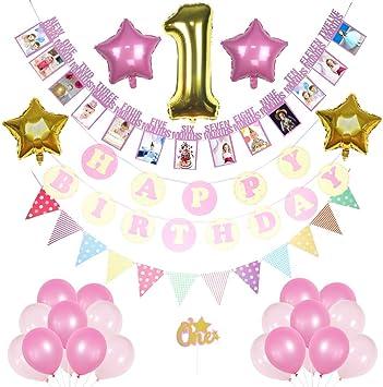 1er cumpleaños niña decoraciones rosa y dorado Pack, feliz ...