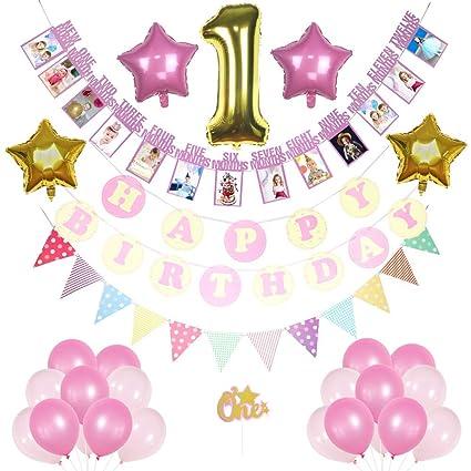 Amazon.com: 1 cumpleaños niña decoraciones rosa y dorado ...