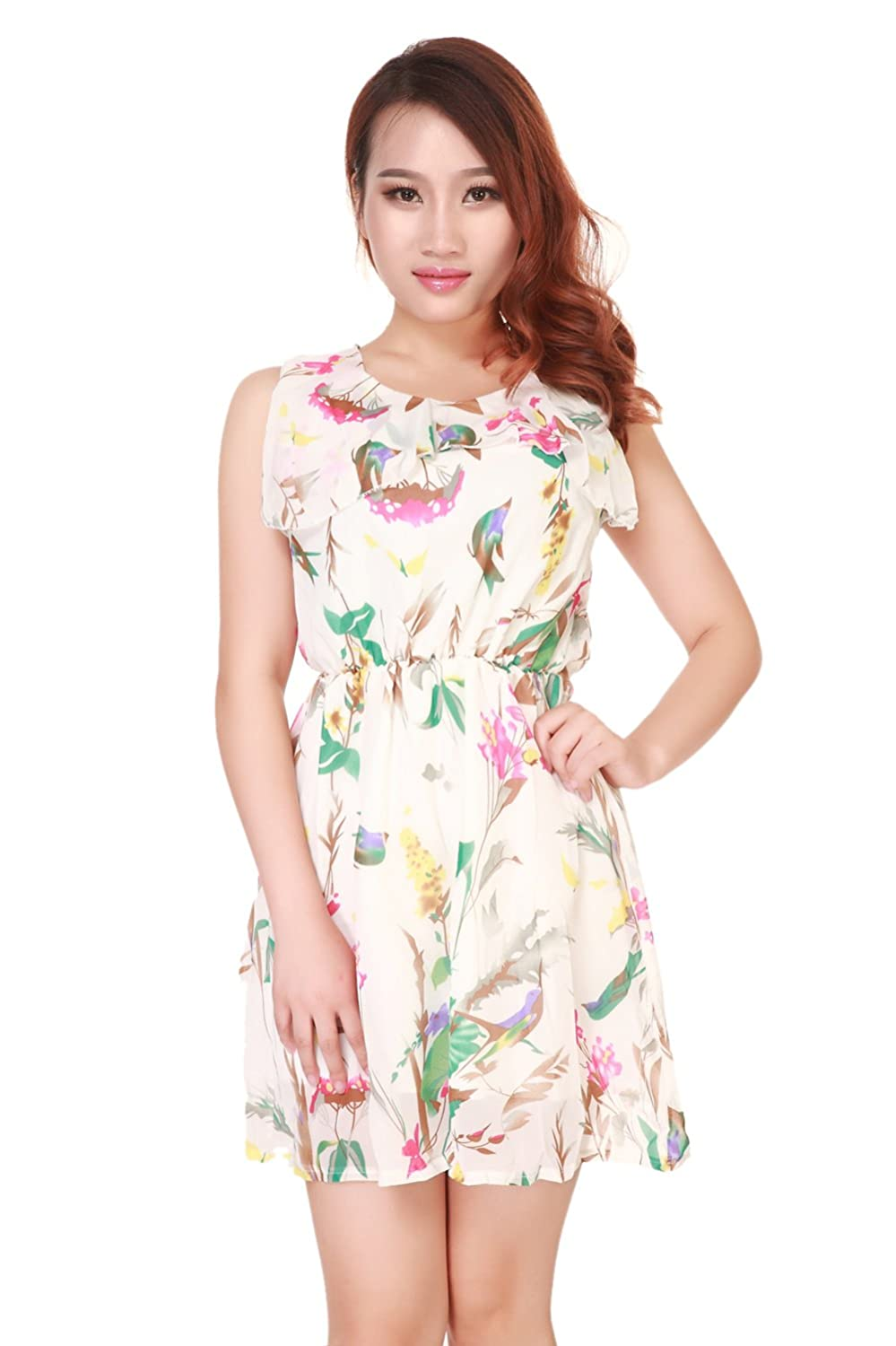 Womens Floral Sleeveless Mini Dress with Belt