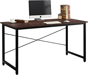 DlandHome 55 inches Medium Computer Desk, Composite Wood Board, Modern Home Office Desk/Workstation/Table, WK-JJ, Walnut and Black Legs