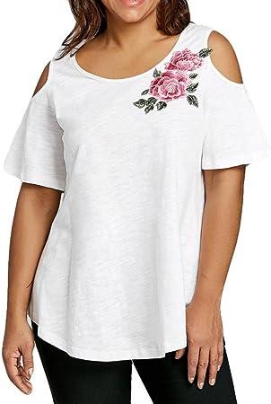 Camisetas Mujer Verano Blusa Mujer Elegante Manga Corta Camiseta Mujer Camisetas Mujer Fiesta Camisetas Sin Hombros Mujer Camisetas Mujer Tallas Grandes XL -XXXXXL: Amazon.es: Deportes y aire libre