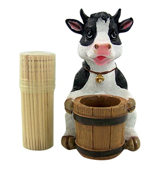 Decorative Holstein Cow Toothpick Holder Set Figurine With Wood Classy Wooden Display Stands For Figurines