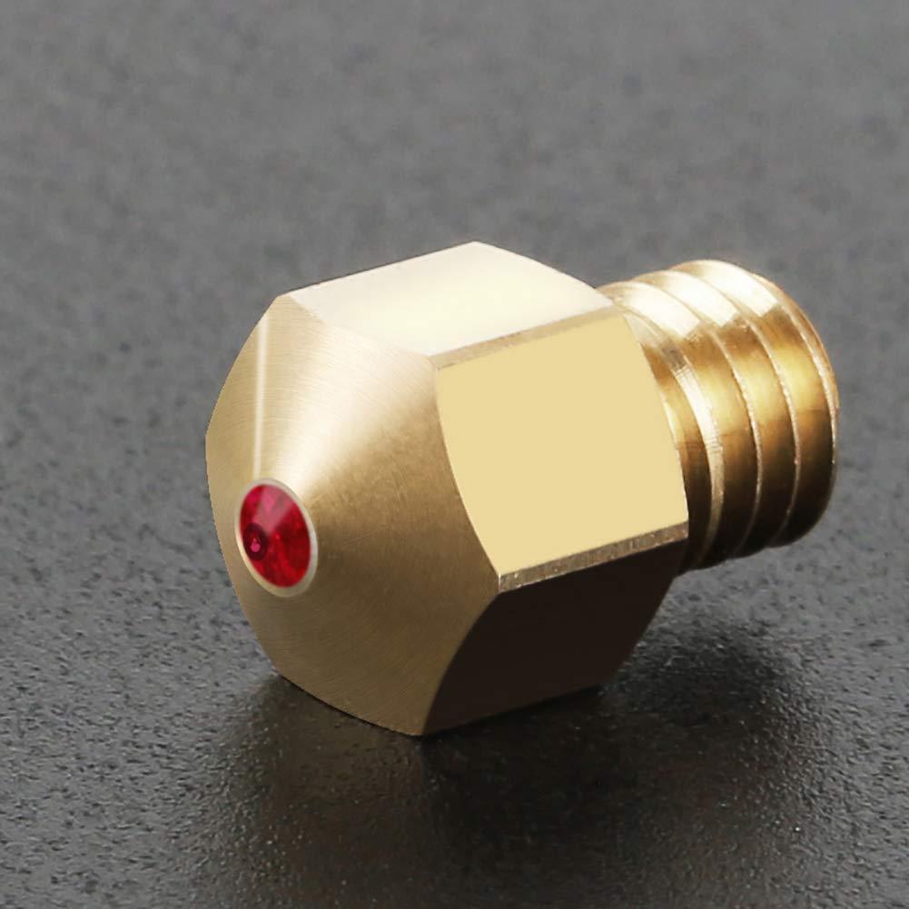 0,4 mm kompatibel mit PETG ABS PEI PEEK und Anderen Verbrauchsmaterialien Rubin Rubin,3D-Drucker-Extruderteile, Ocamo Messing 3D Drucker D/üse,Druckkopf M6 Gewinde D/üse
