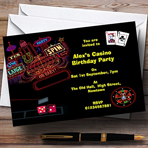 Las Vegas Casino Theme Personalized Birthday Party Invitations ()