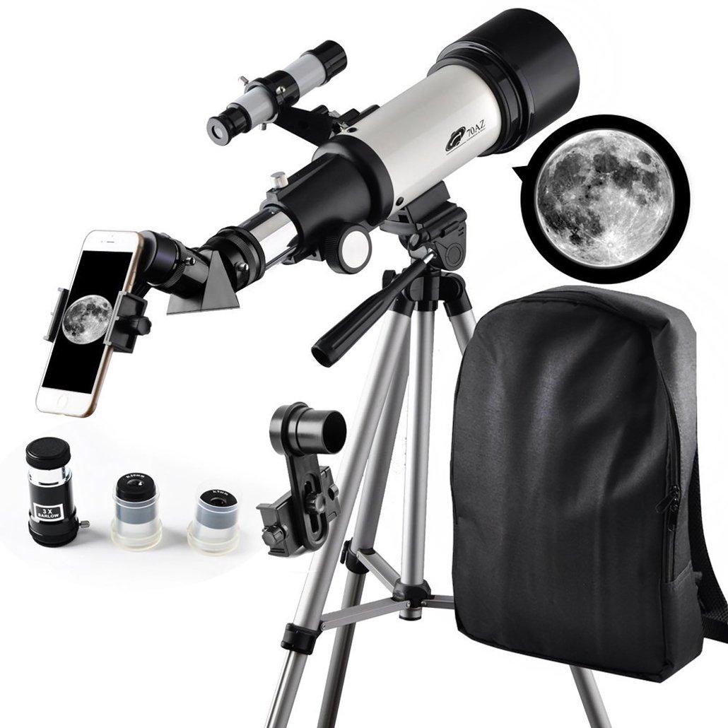 Telescopio da viaggio, apertura 70 mm, portata 400 mm, montatura altazimutale (AZ), un ottimo strumento per osservare la Luna e i pianeti, adatto ai viaggi con lo zaino, ai bambini e ai principianti Moutec