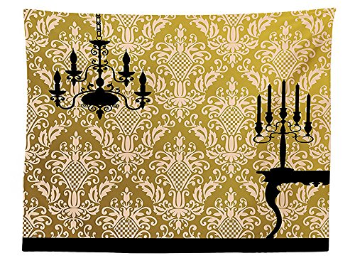 vipsung Damask Decor Tablecloth English Country House Damask Motif on Wall and Chandelier Silhouettes Renaissance Decor Dining Room Kitchen Rectangular Table Cover