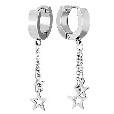 2 Pendientes del Aro con Dos Colgantes Estrella Pentagrama, Huggie Pendientes para Mujer Niñas, Acero Inoxidable