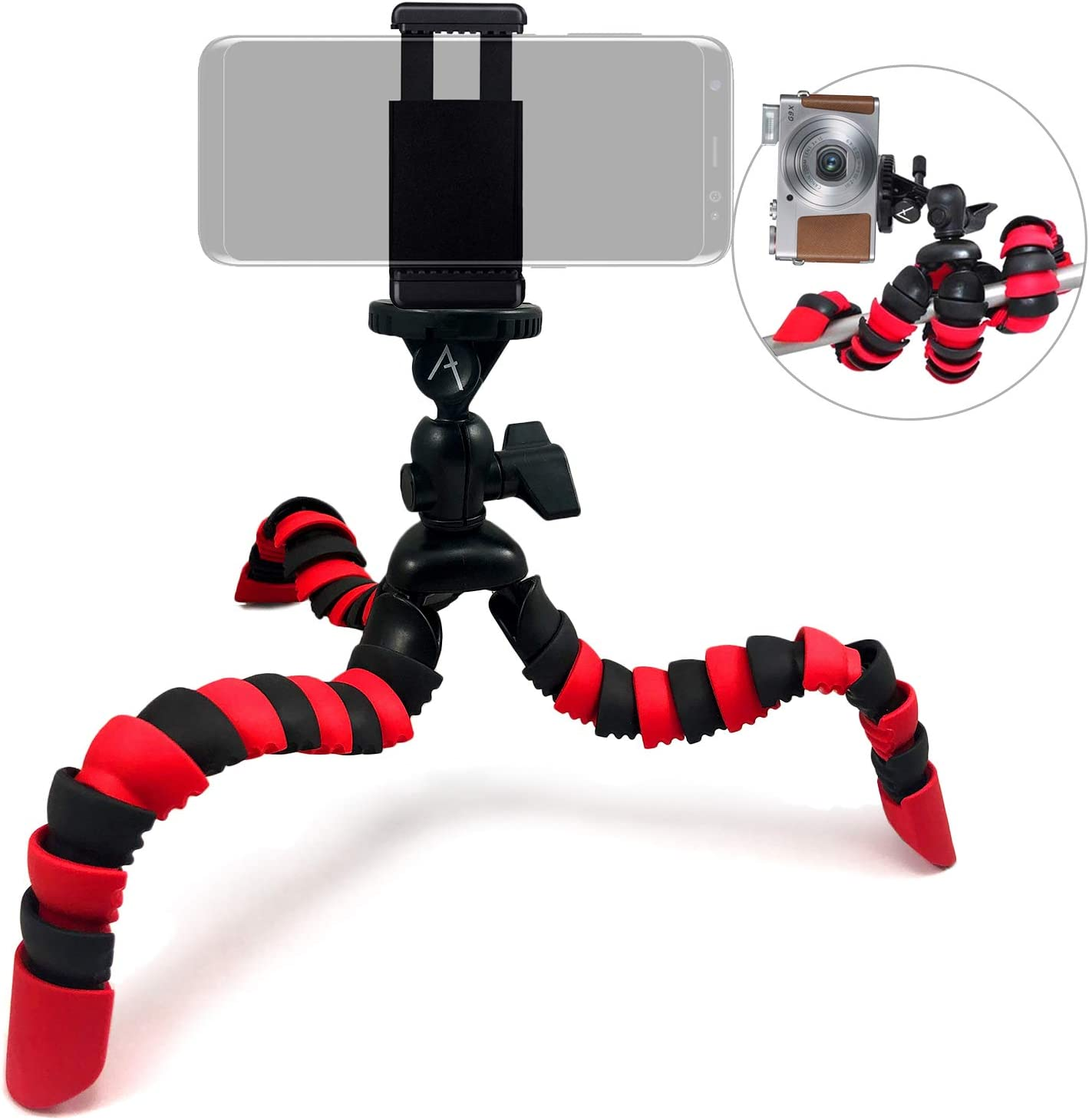 Acuvar 12 Inch Flexible Camera Tripod with Wrapable Disc Legs /& Quick Release Plate Universal Smartphone Mount for All Smartphones