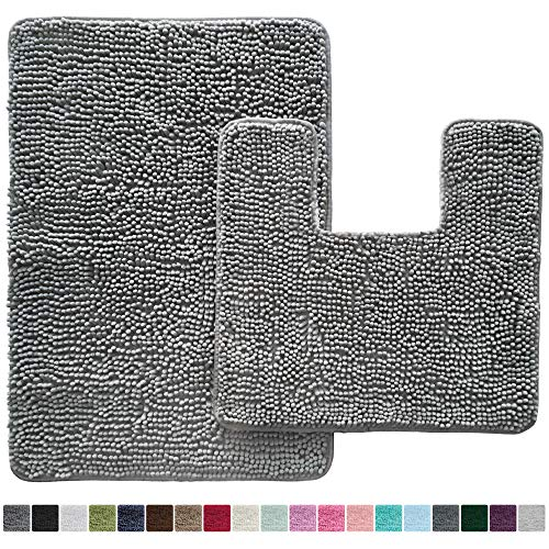 Gorilla Grip Original Shaggy Chenille 2 Piece Bath Rug Set, 19x19 Square U-Shape Contoured Toilet Mat & 30x20 Carpet Rug, Machine Wash/Dry Mats, Soft, Plush Rugs for Tub Shower & Bath Room (Gray)