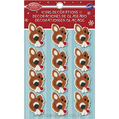 Wilton Rudolph the Red-Nosed Reindeer Edible Cupcake Toppers (Cookie Rudolph)
