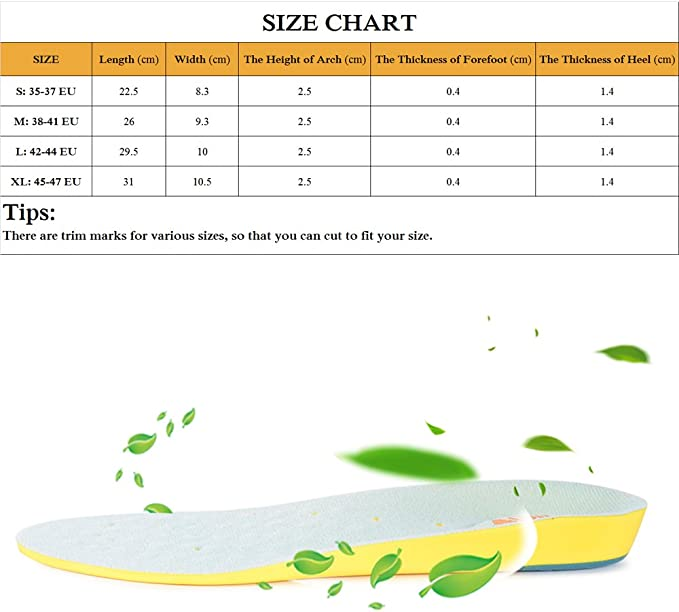 SESSOM /& CO Plantillas ortop/édicas con soporte de arco coj/ín de tal/ón y masaje de gel en el antepi/é para aliviar el dolor de pie y la fascitis plantar