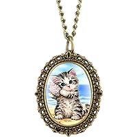 WWVAVA Lovely Cute Cat Pattern Reloj de Bolsillo
