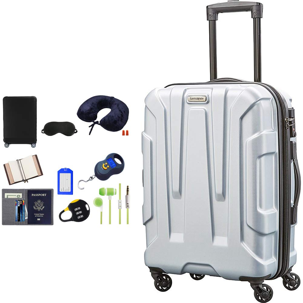 Samsonite 92794-1776 Centric Hardside 20 Carry-On Luggage Spinner – Silver Bundle w Deco Gear Luggage Accessory Kit 10 Item