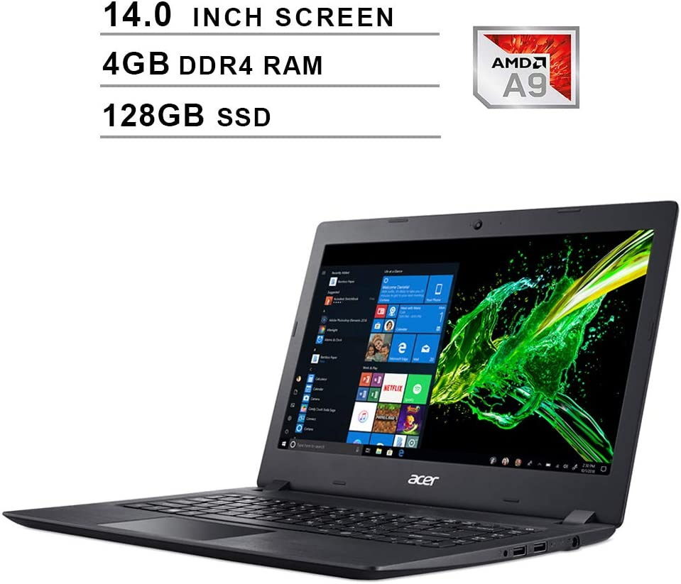 Acer Aspire 3 Newest 14-Inch Premium Laptop - AMD A9-9420e 1.8GHz up to 2.7GHz, AMD Radeon R5, 4GB DDR4 RAM, 128GB SSD, HDMI, WiFi, Bluetooth, Webcam, Windows 10 Home, Black