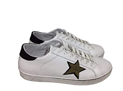 Arish Scarpe Sneakers Basse Uomo Pelle Bianca Nero