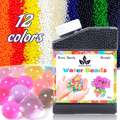 AINOLWAY High Elastic Water Beads Gel Pearls Jelly Crystal Soil for Vase Fillers 4oz Almost 15,000 Pcs (Black)