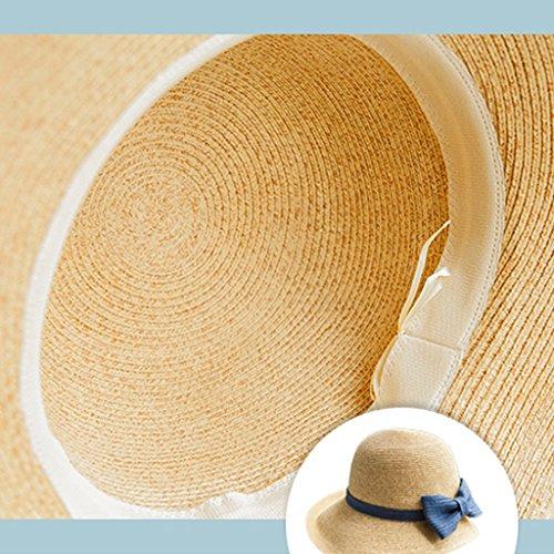 SUSHI Sombrero de Paja de ala Pequeña de Verano - Sombrero de Sol de Ocio  Retro Sombrero de Protección de UV Plegable Sombrero de Playa para Mujer  (Color ... 86cac979b27