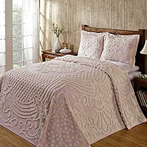 Amazon.com: Chenille Bedspread Light Pink Queen, Faded