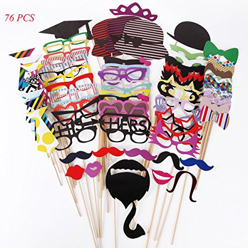 Tresbro Photo Booth Props DIY Kit,Photobooth Props Sticks for Wedding,Engagement,Birthdays,Dress-Up,Graduation Party Favors Ideas Include Glasses,Hats,Mustache,Lips 76 Pieces