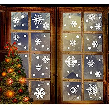 High Quality 190+ Christmas Snowflake Window Clings Decorations   White Baubles/Bells   Winter Wonderland Xmas