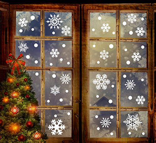 Christmas Window Clings - 190+ Christmas Snowflake Window Clings Decorations - White Baubles / Bells -Winter Wonderland Xmas Party Stickers Decal Ornaments