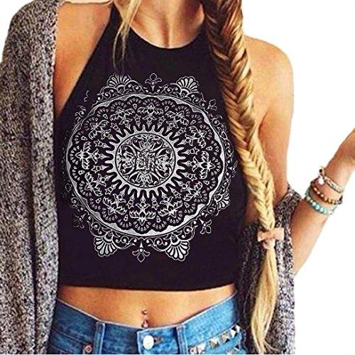 Perman Womens Mandala Print Sleeveless Halterneck Tank Crop Tops Vest Blouse (US 4)