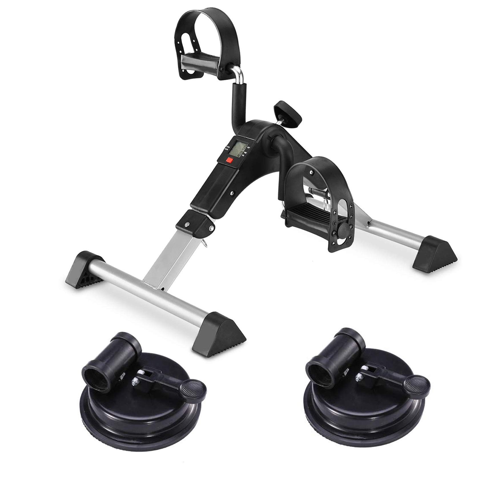 MOMODA Foot Pedal Exerciser Mini Exercise Bike with Suckers Non-Slip(Black/Gray)