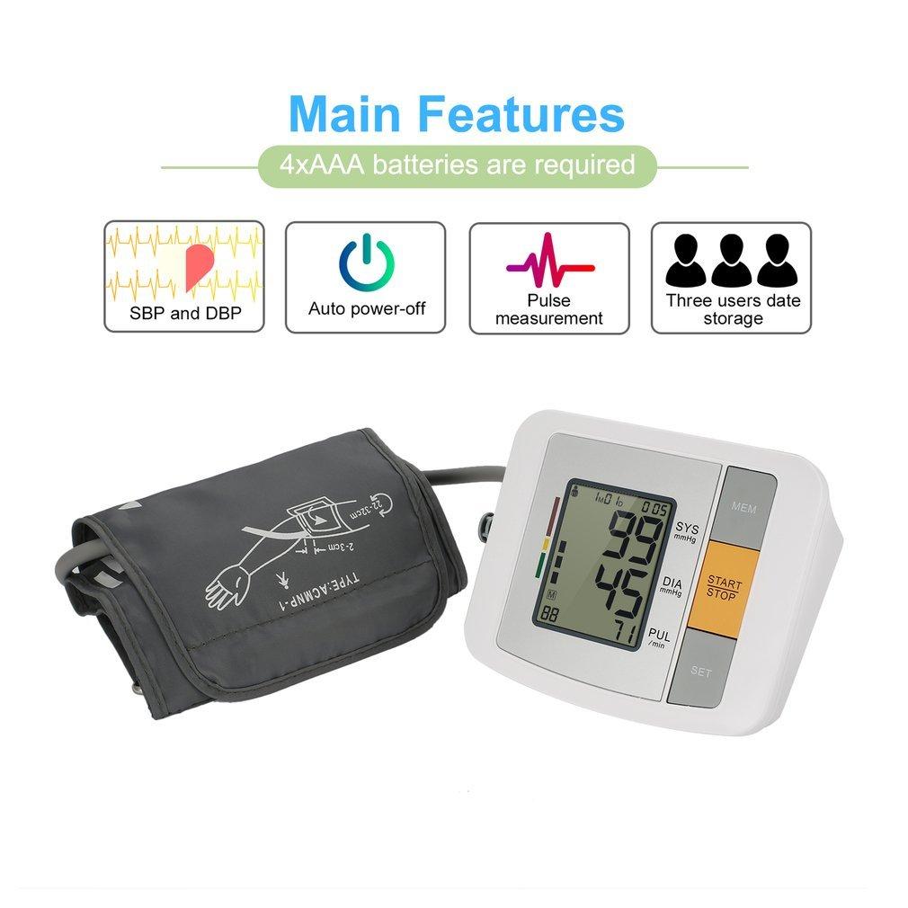 Tensiómetro de brazo digital Monitor de Presión Arterial LCD Pantalla con la función de seguimiento de la historia, Certificado por FDA,CE, ISO color blanco ...