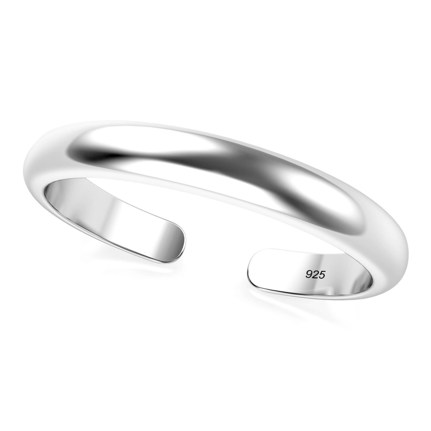 Metal Factory Sterling Silver 2MM Plain Dome Adjustable Toe Band Ring