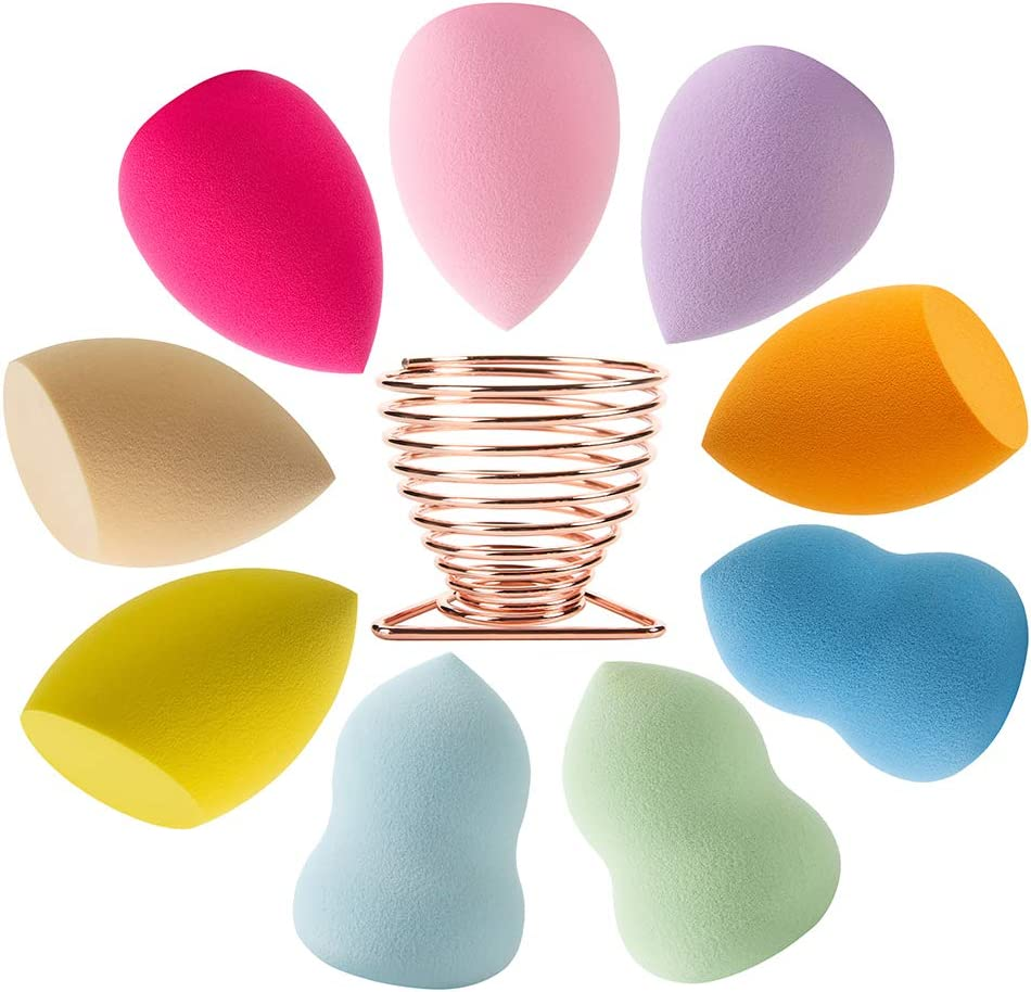 Beauty Blender Makeup Sponges Blending Set Beauty Sponges Latex-free Blender Powder Puff for Foundation Blending Concealer Flawless for Liquid Cream 9 Colorful Beauty Blender+1 Beauty Blender Holder