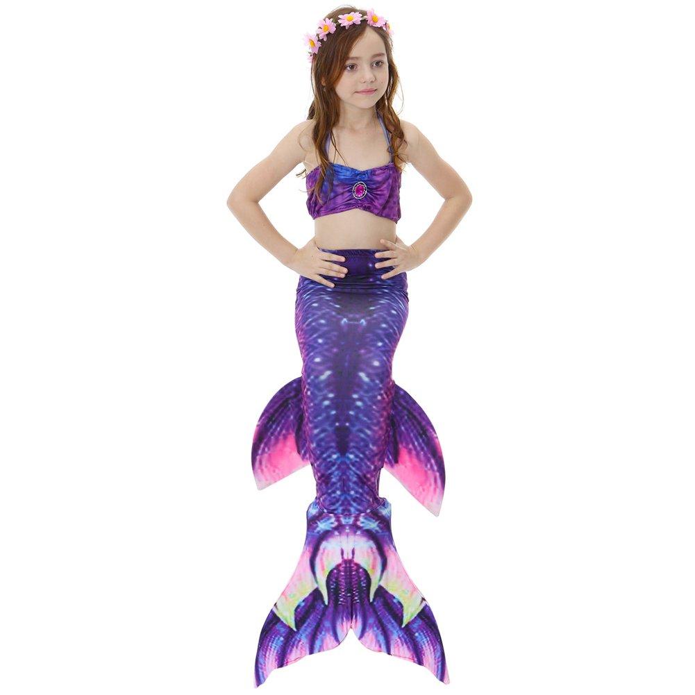 3PCS Girl Mermaid Tail Swimsuit Bikini Set Princess Swimming Bathing Suits 120