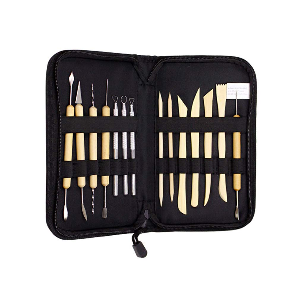 14pcs Clay Sculpting Carving Tools Set, Professional DIY Ceramic Pottery Modeling Kit for Clay Work, Wood Shaping, Handicraft Art Project, Painting Embossing with Storage Bag MansWill