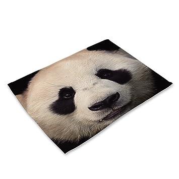 Algodón lino colchón almohadillas posavasos 3D gatos y perros cara animal impresión vajillas alfombras Cotton tela