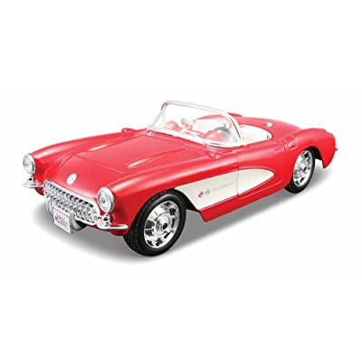 Maisto Assembly Line 1957 Chevrolet Corvette 1/24 Scale Diecast Model Car Kit Red: Toys & Games
