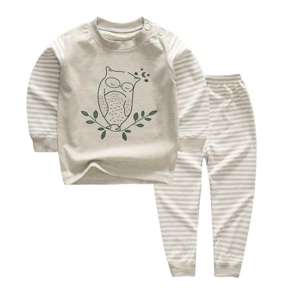 YANWANG 100% Organic Cotton Baby Boys Girls Pajamas Set Long Sleeve Sleepwear(3M-5T) J1-DUF5-REDQ