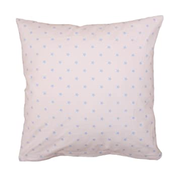 Kissenbezug 50x50 cm, Sterne 10 mm, Hellblau auf Weiß, Baumwolle ...