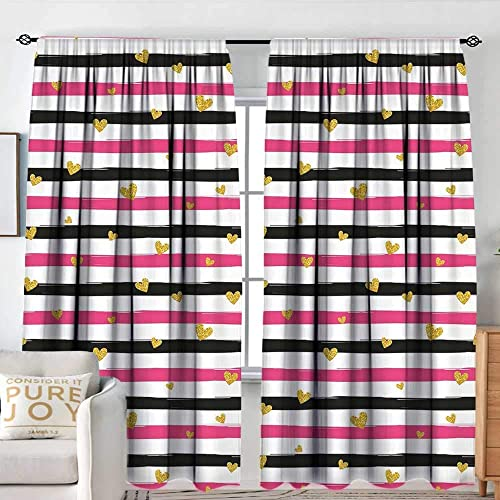 Window Blackout Curtains Gold and White,Romantic Teenager Love Sign Hearts on Grunge Stripes Lines,Hot Pink Black and White,for Room Darkening Panel