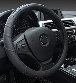 FITS JEEP PATRIOT 2006-2013 BLACK LEATHER STEERING WHEEL COVER GREY STITCH