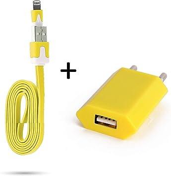Shot Case – Cable Noodle 1 m Cargador + Toma Corriente para iPhone 8 Plus (+) Apple USB Lightning Pared Pack (Color Amarillo): Amazon.es: Electrónica