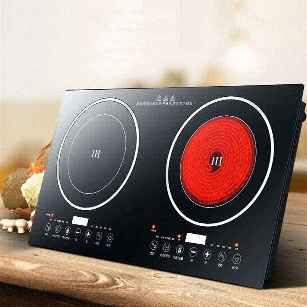 2X1200W Intelligent Electric Dual Induction Cooker Cooktop Double Hot Plate Cooking Burner Touch Induction Cooker Stove W//Timer Temperature Control 30A